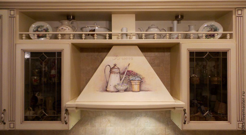 кухонная вытяжка с росписью