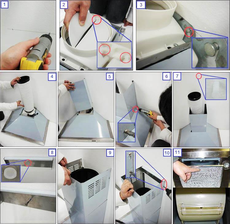 Этапы монтажа кухонной вытяжки