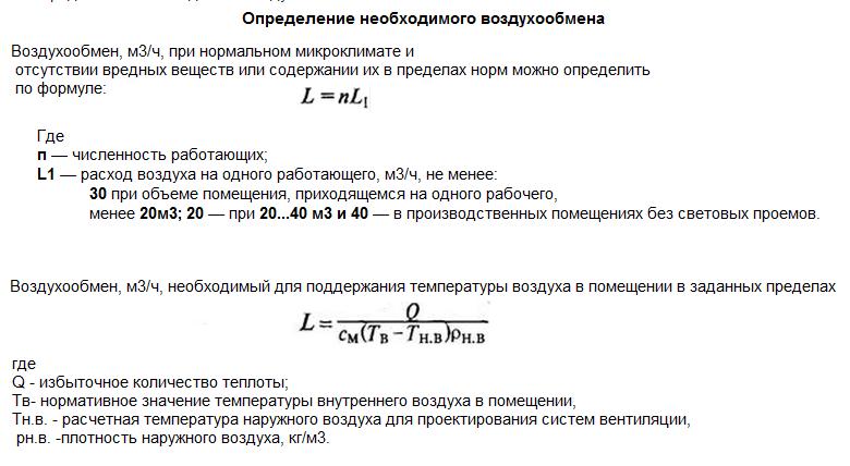 формула расчета воздухообмена