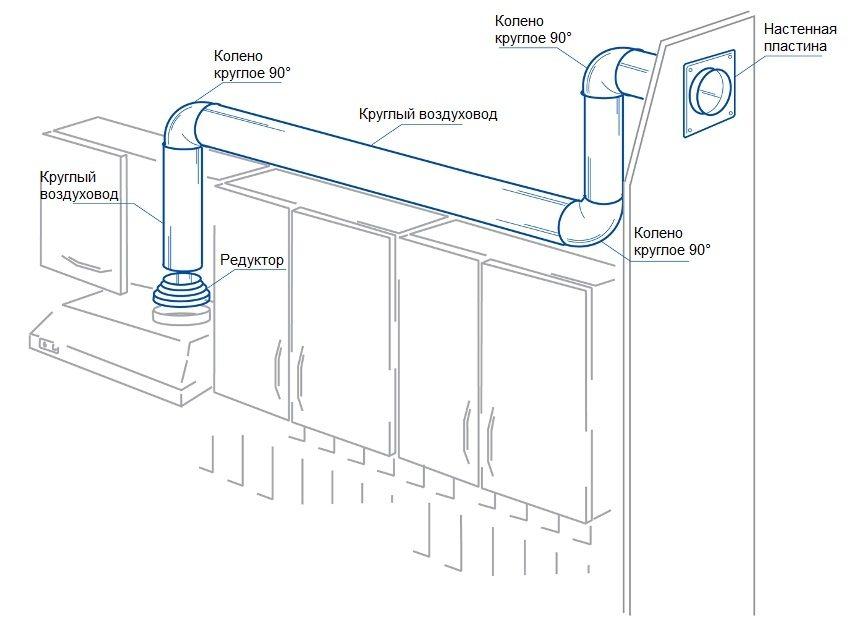 схема вытяжки с отводом в вентиляцию