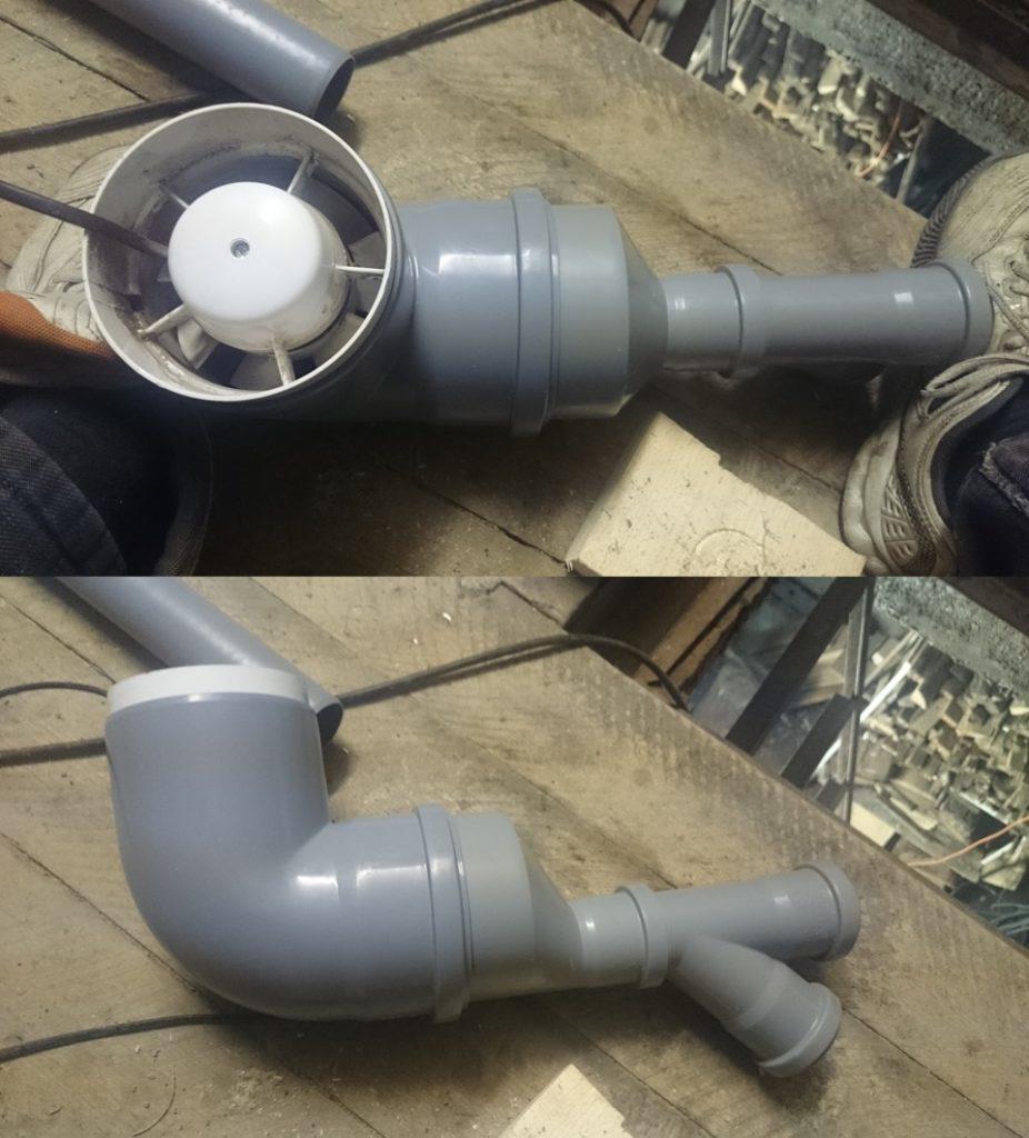 вентилятор в пластиковой трубе