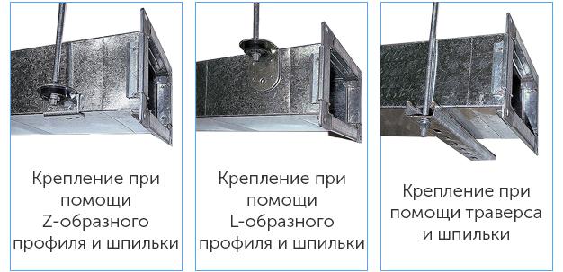 варианты крепления металлических воздуховодов