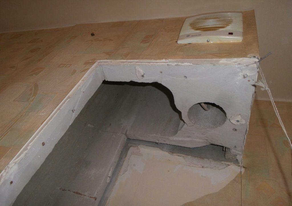 процесс восстановления вентиляционного короба