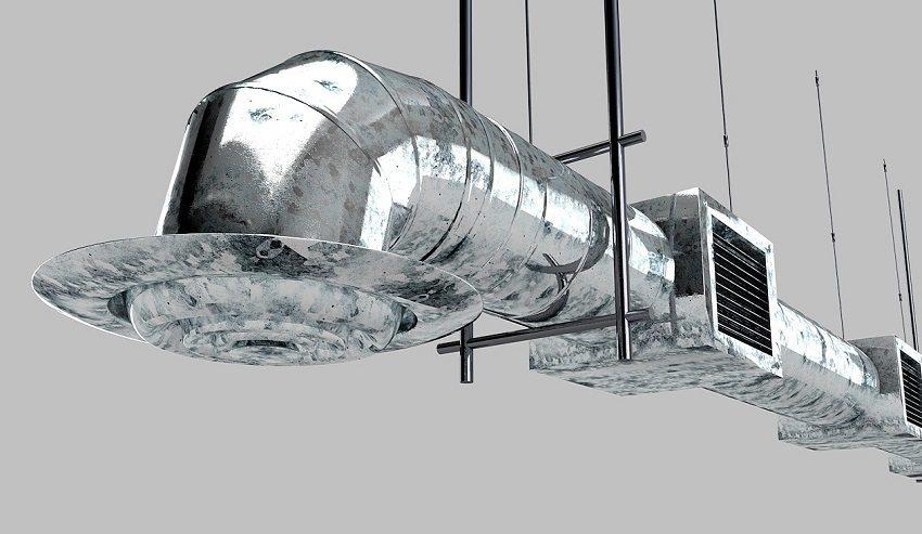 большой металлический воздуховод