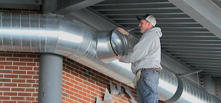 монтаж металлического воздуховода