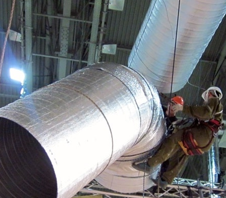 монтаж промышленного воздуховода