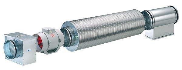монтаж канального вентилятора в трубу