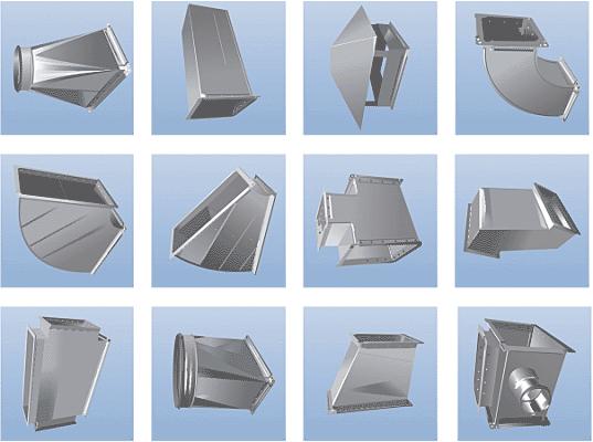 прямоугольные элементы вентиляции