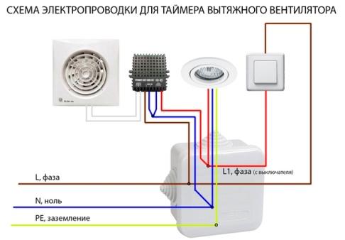 подключение к электросети вытяжки с таймером