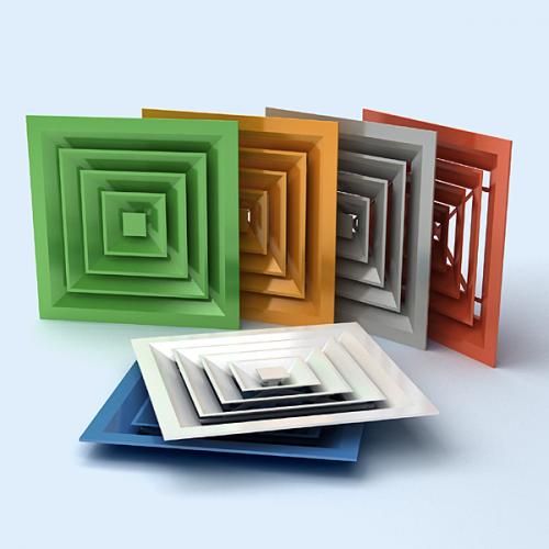 разноцветные пластиковые крышки вентиляции