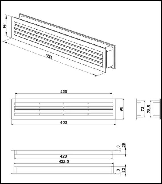 дверная вентиляционная решетка - схема
