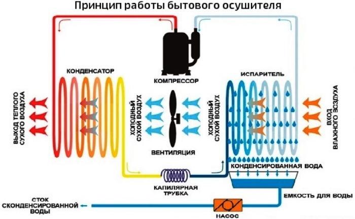 Схема работы бытового осушителя