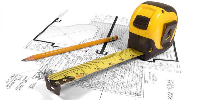 Рулетка карандаш и схема помещения