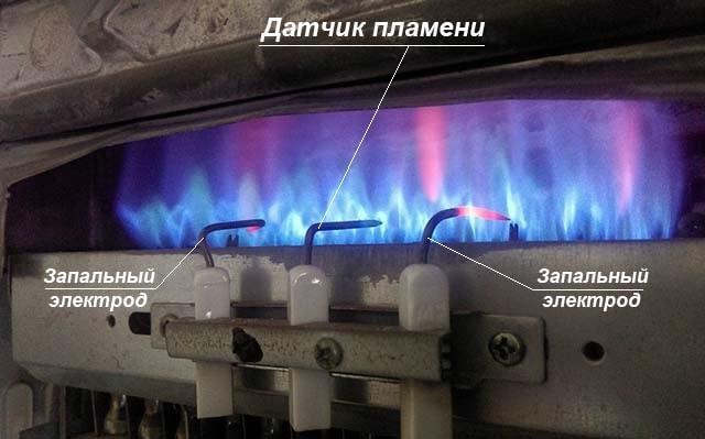 Горение газа в газовой колонке