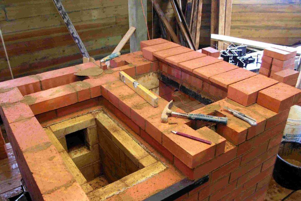 Процесс постройки камина